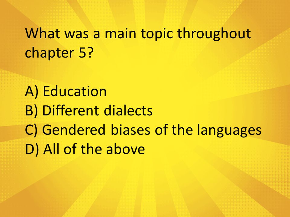 What was a main topic throughout chapter 5