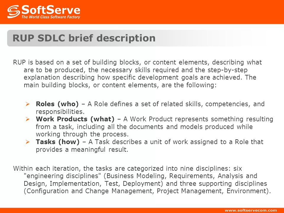 RUP SDLC brief description