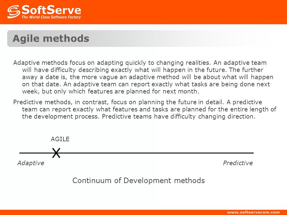 Agile methods Continuum of Development methods