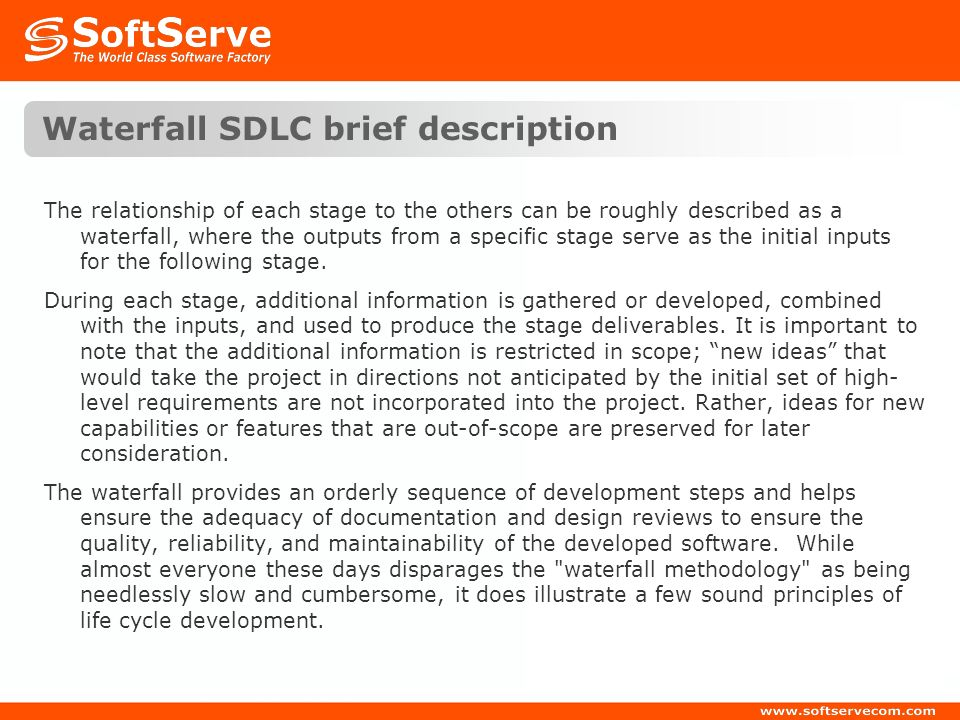 Waterfall SDLC brief description