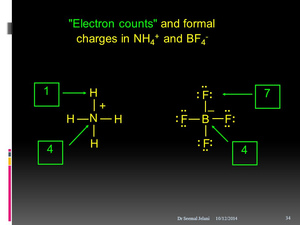 Electron counts and formal charges in NH4+ and BF4-