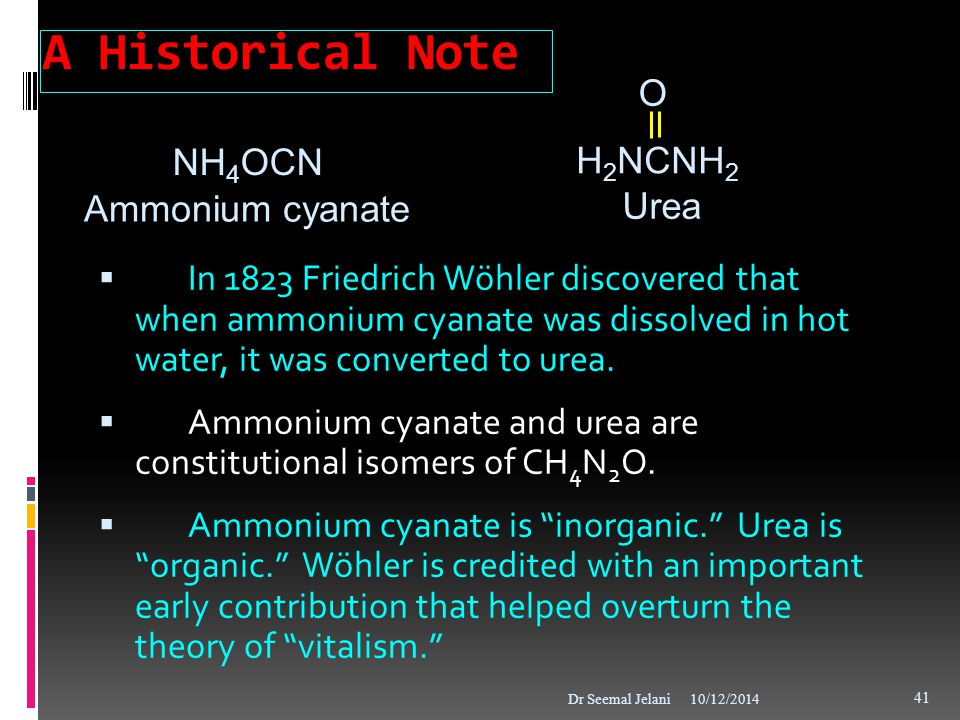A Historical Note O NH4OCN H2NCNH2 Ammonium cyanate Urea