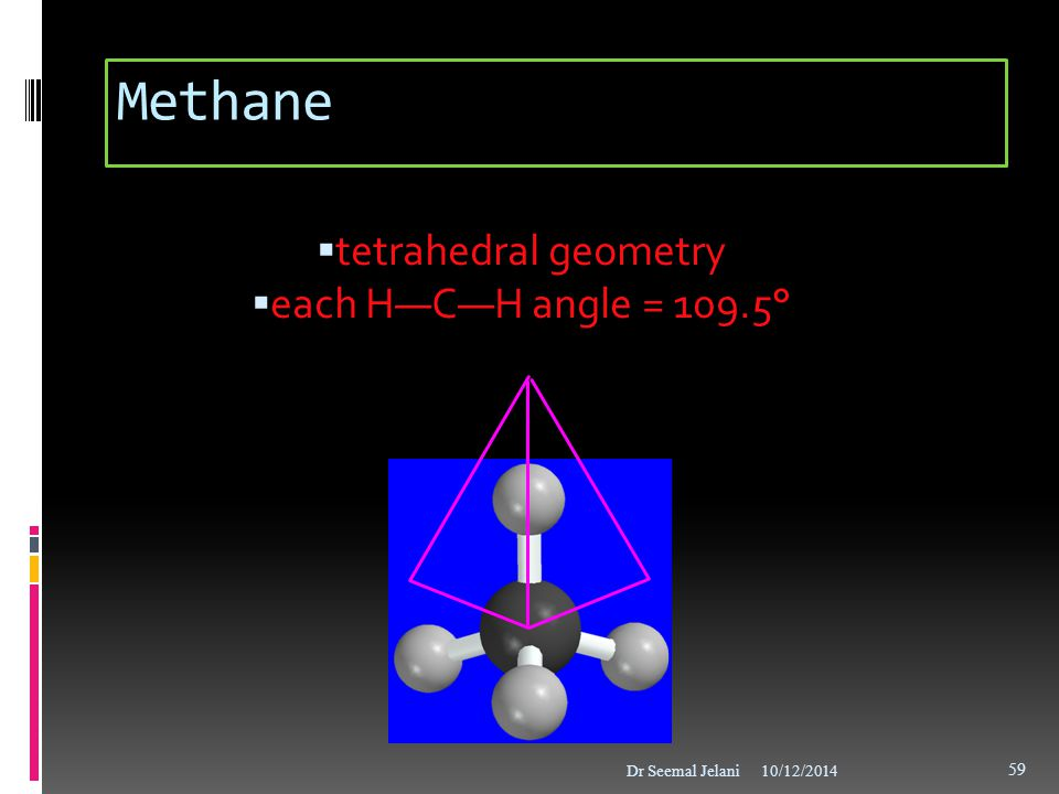 Methane tetrahedral geometry each H—C—H angle = 109.5° 8
