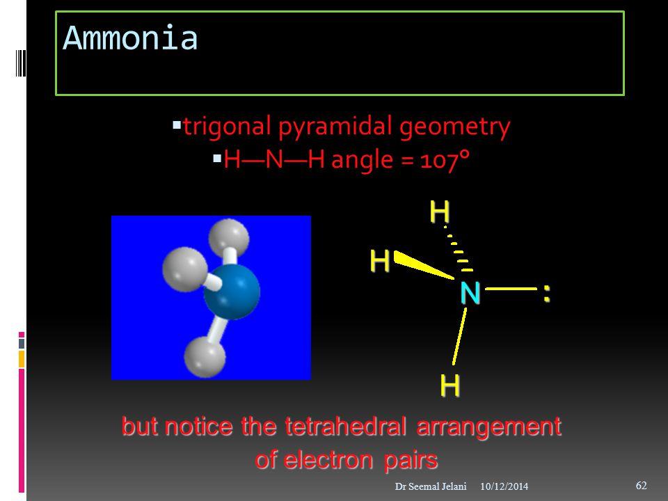 Ammonia H H N : H trigonal pyramidal geometry H—N—H angle = 107°