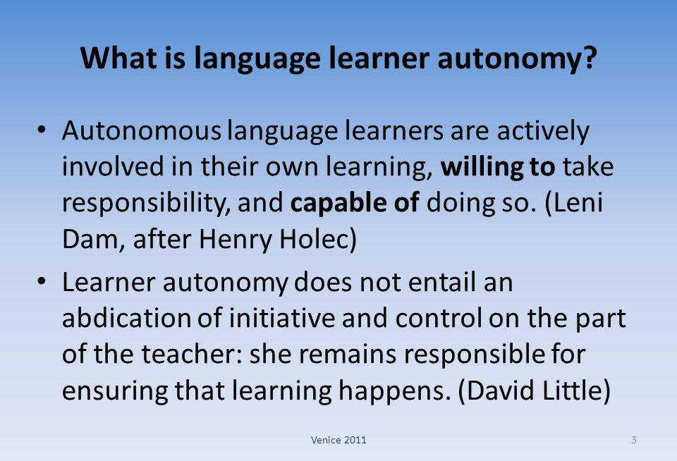 What is language learner autonomy