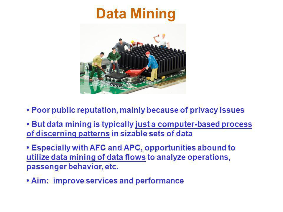 Data Mining • Poor public reputation, mainly because of privacy issues
