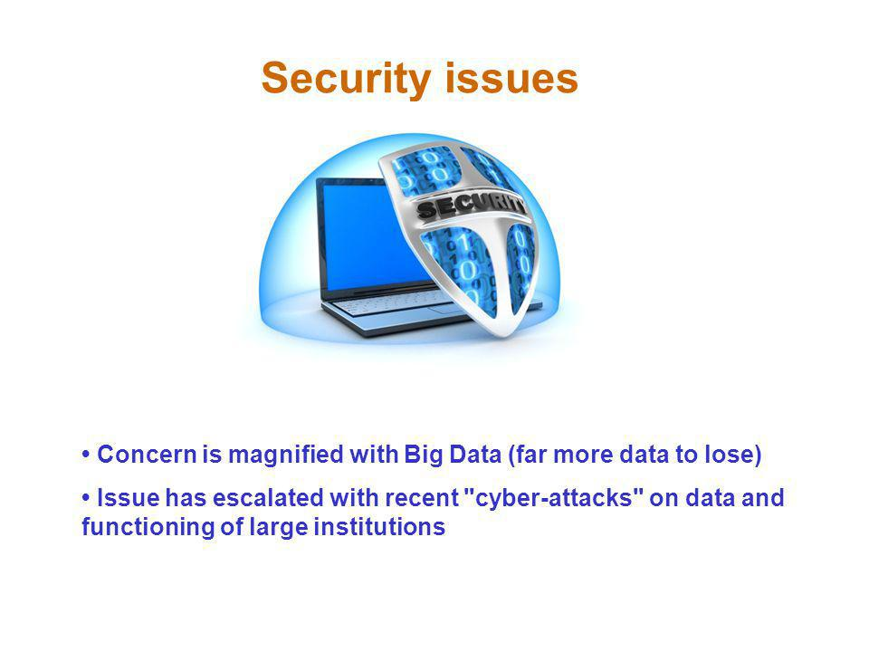 Security issues • Concern is magnified with Big Data (far more data to lose)