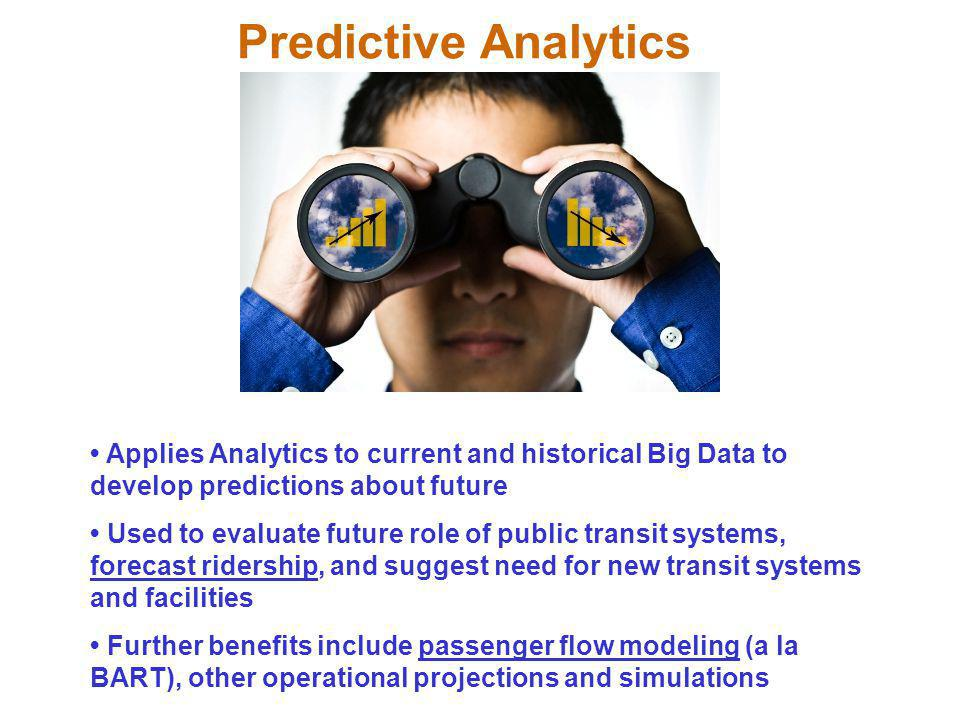 Predictive Analytics • Applies Analytics to current and historical Big Data to develop predictions about future.