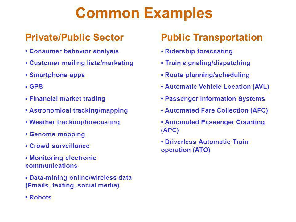 Common Examples Private/Public Sector Public Transportation