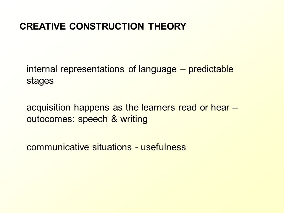 CREATIVE CONSTRUCTION THEORY
