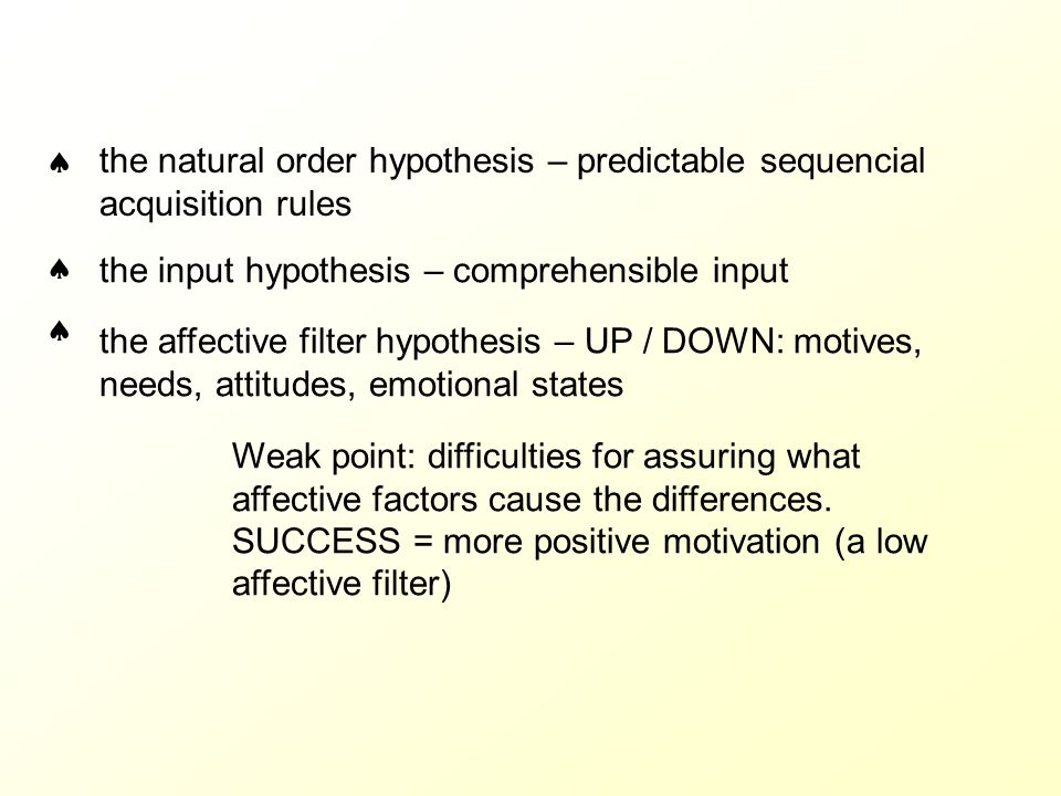  the natural order hypothesis – predictable sequencial acquisition rules.  the input hypothesis – comprehensible input.