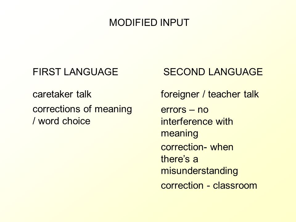 MODIFIED INPUT FIRST LANGUAGE. SECOND LANGUAGE. caretaker talk. foreigner / teacher talk. corrections of meaning / word choice.