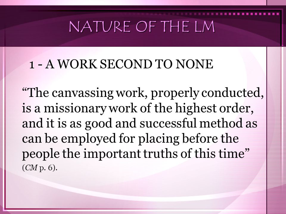 NATURE OF THE LM 1 - A WORK SECOND TO NONE