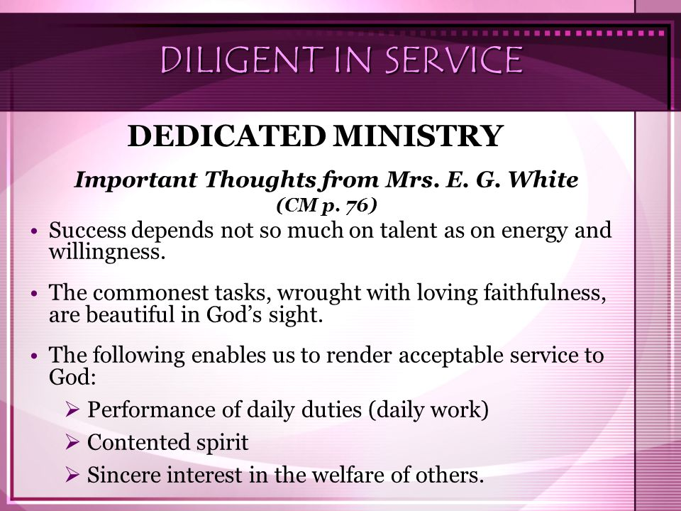 Important Thoughts from Mrs. E. G. White