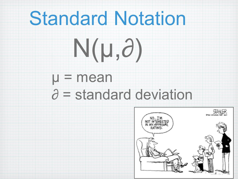 Standard Notation N(µ,∂) µ = mean ∂ = standard deviation