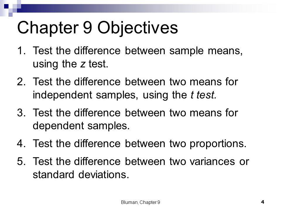 Chapter 9 Objectives Test the difference between sample means, using the z test.