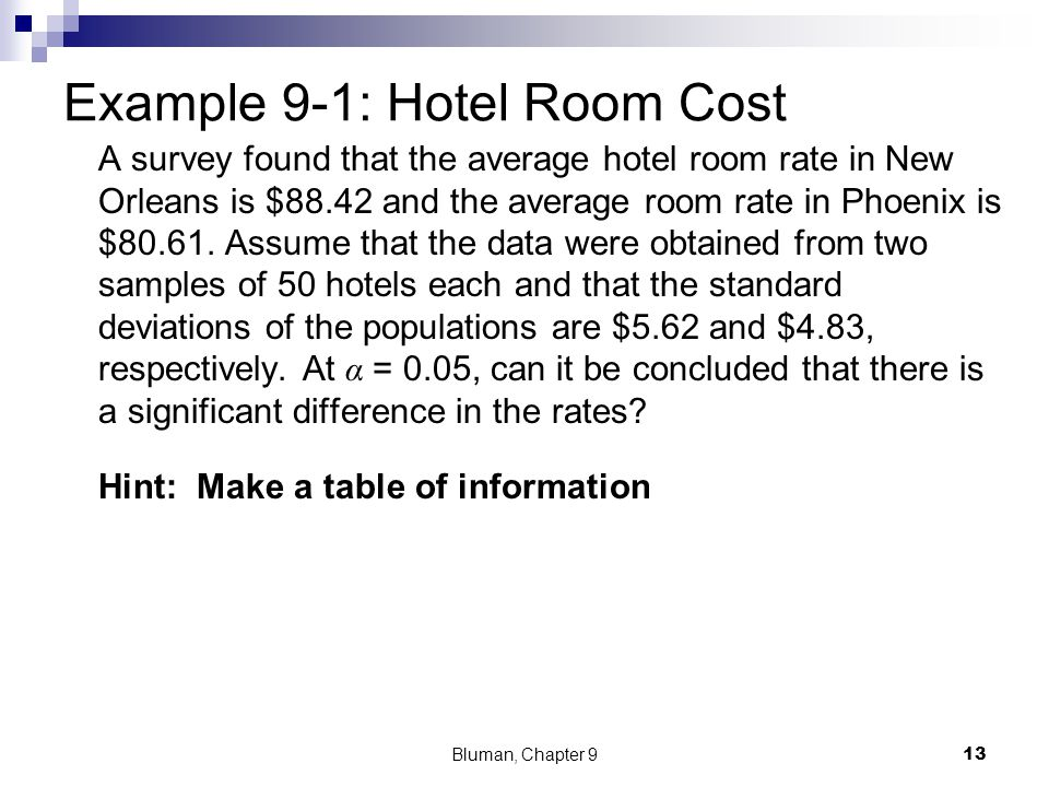 Example 9-1: Hotel Room Cost