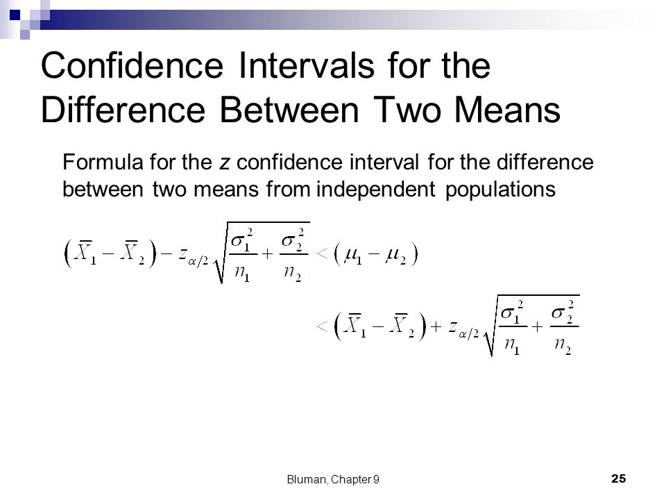 Confidence Intervals for the Difference Between Two Means