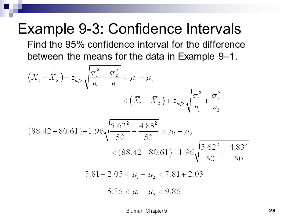 Example 9-3: Confidence Intervals
