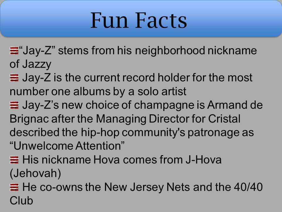 Fun Facts Jay-Z stems from his neighborhood nickname of Jazzy