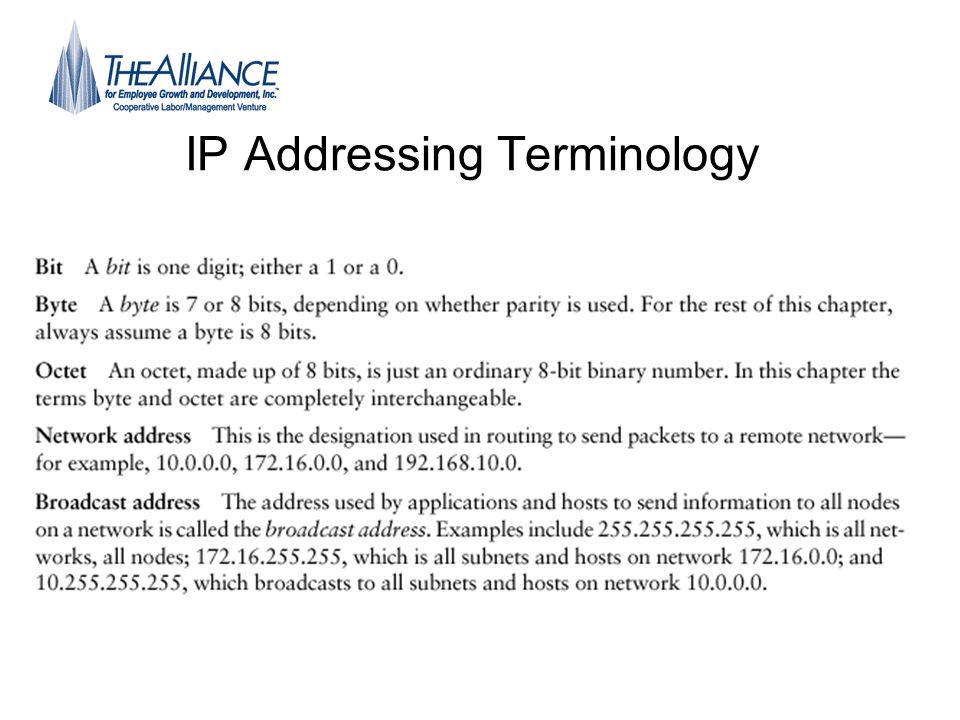 IP Addressing Terminology