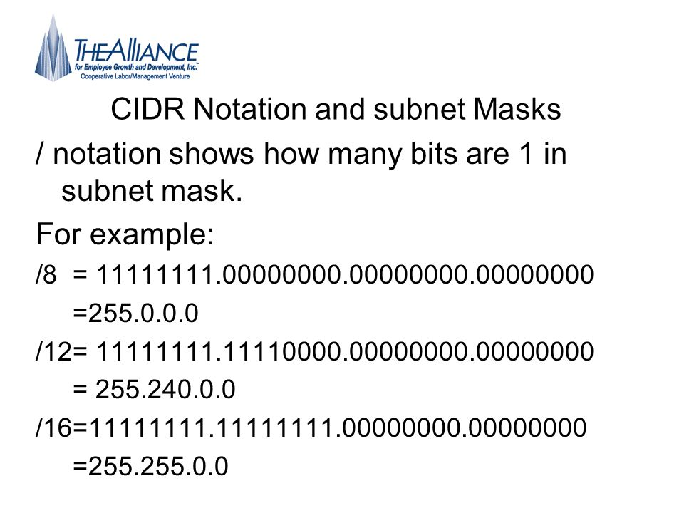 CIDR Notation and subnet Masks