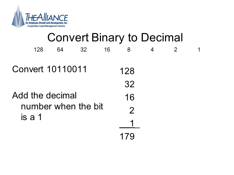Convert Binary to Decimal