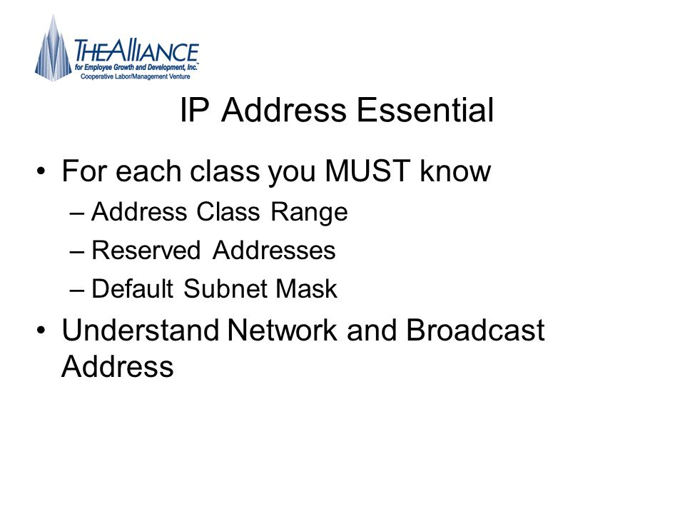 IP Address Essential For each class you MUST know