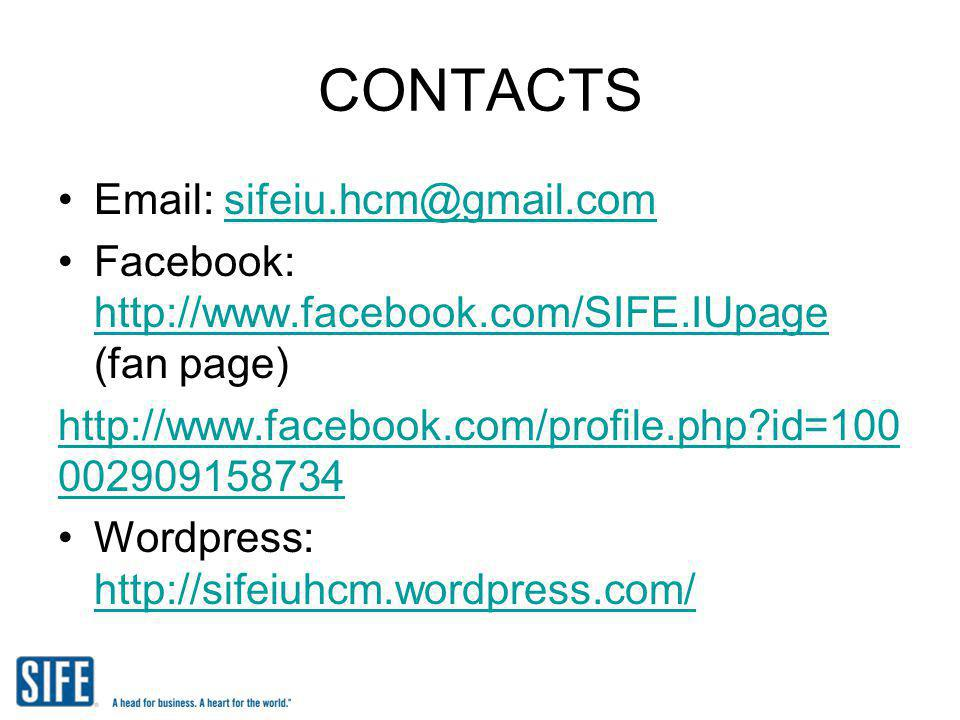 CONTACTS Email: sifeiu.hcm@gmail.com