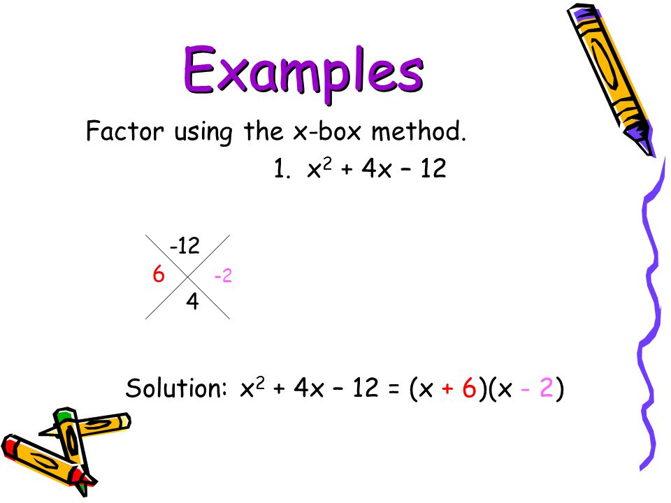 Examples Factor using the x-box method. 1. x2 + 4x – 12