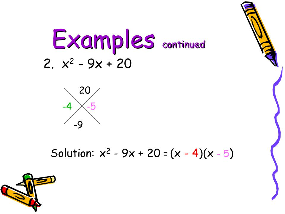 Examples continued 2. x2 - 9x + 20