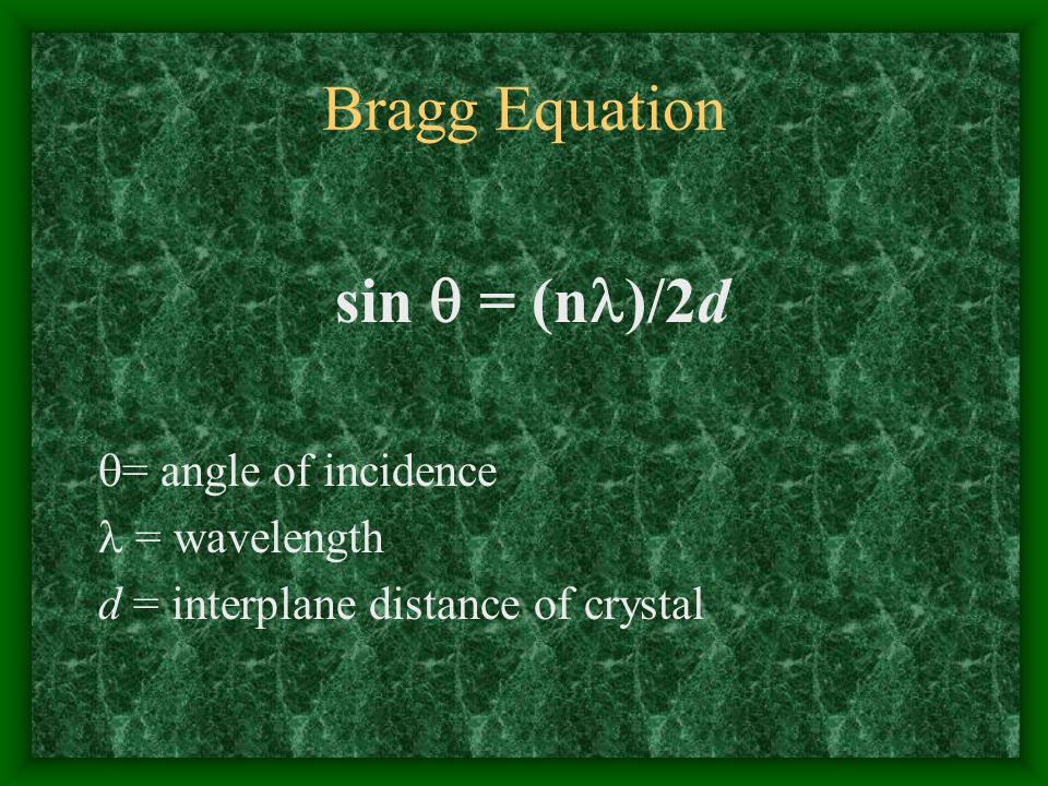 Bragg Equation sin  = (n)/2d = angle of incidence  = wavelength