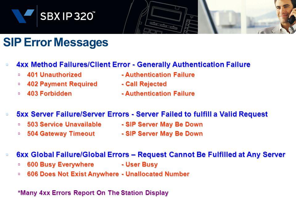 SIP Error Messages 4xx Method Failures/Client Error - Generally Authentication Failure. 401 Unauthorized - Authentication Failure.