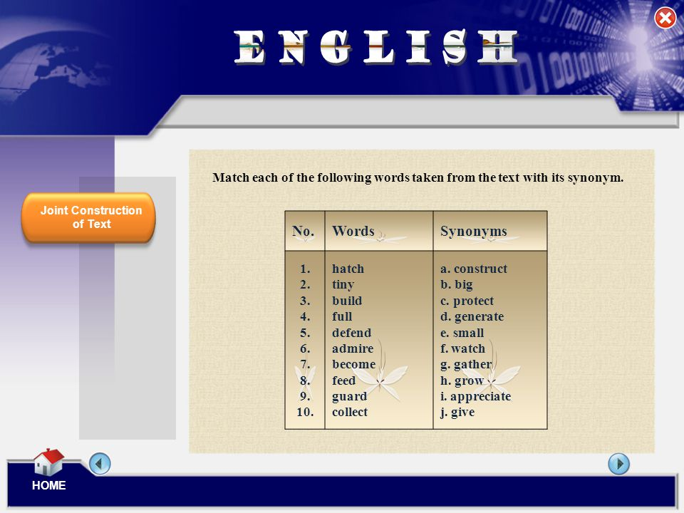 ENGLISH No. Words Synonyms