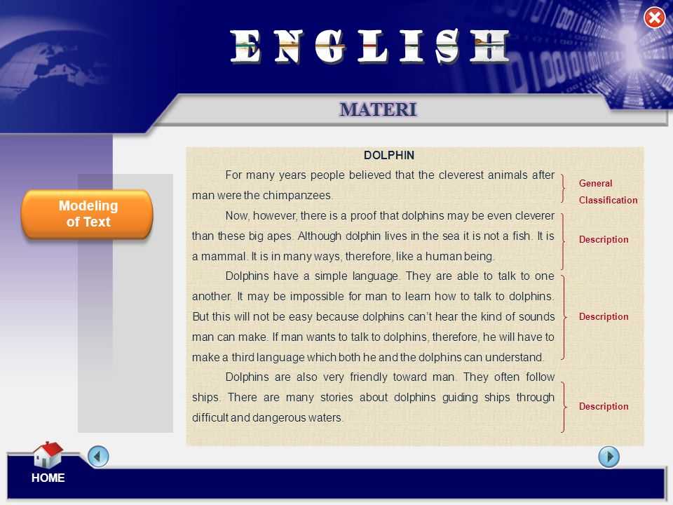 ENGLISH MATERI Modeling of Text DOLPHIN
