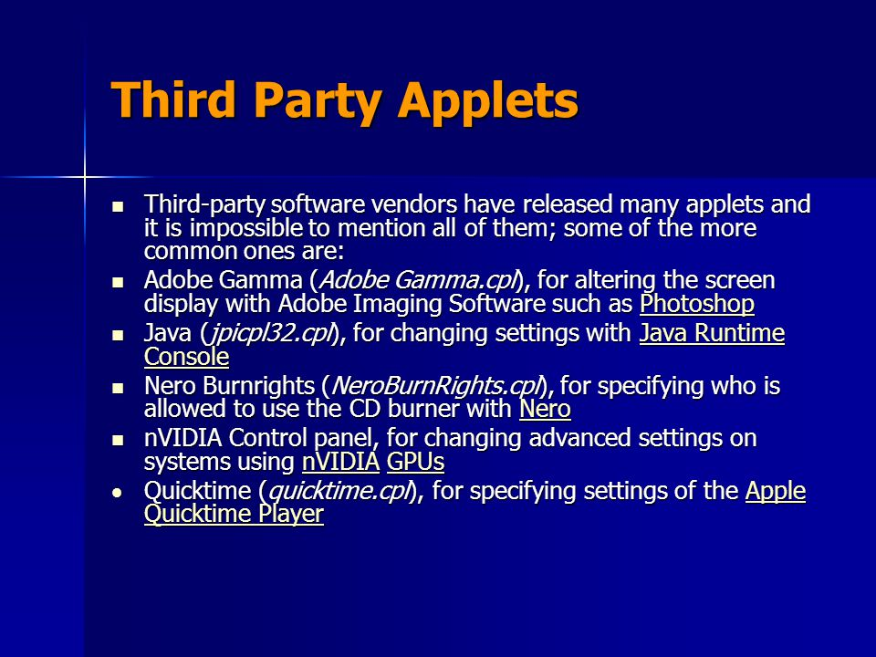 Third Party Applets