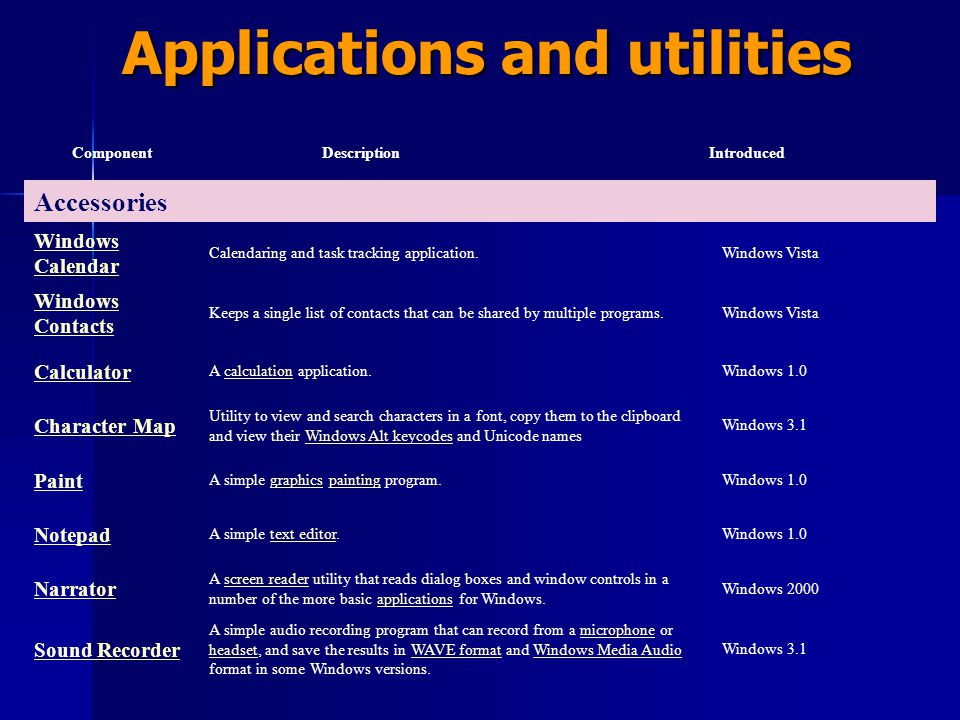 Applications and utilities