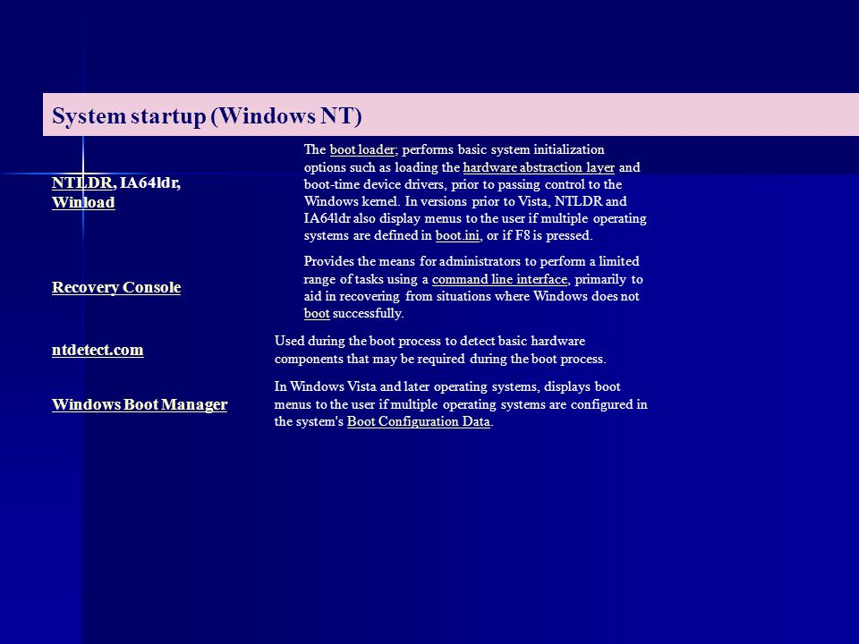System startup (Windows NT)