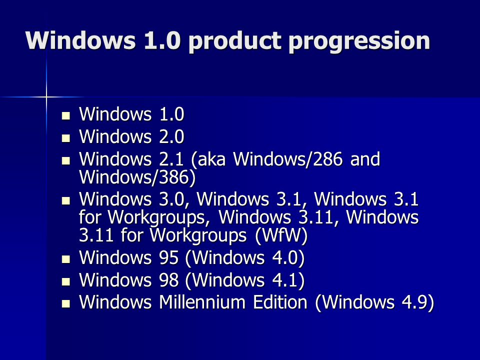 Windows 1.0 product progression
