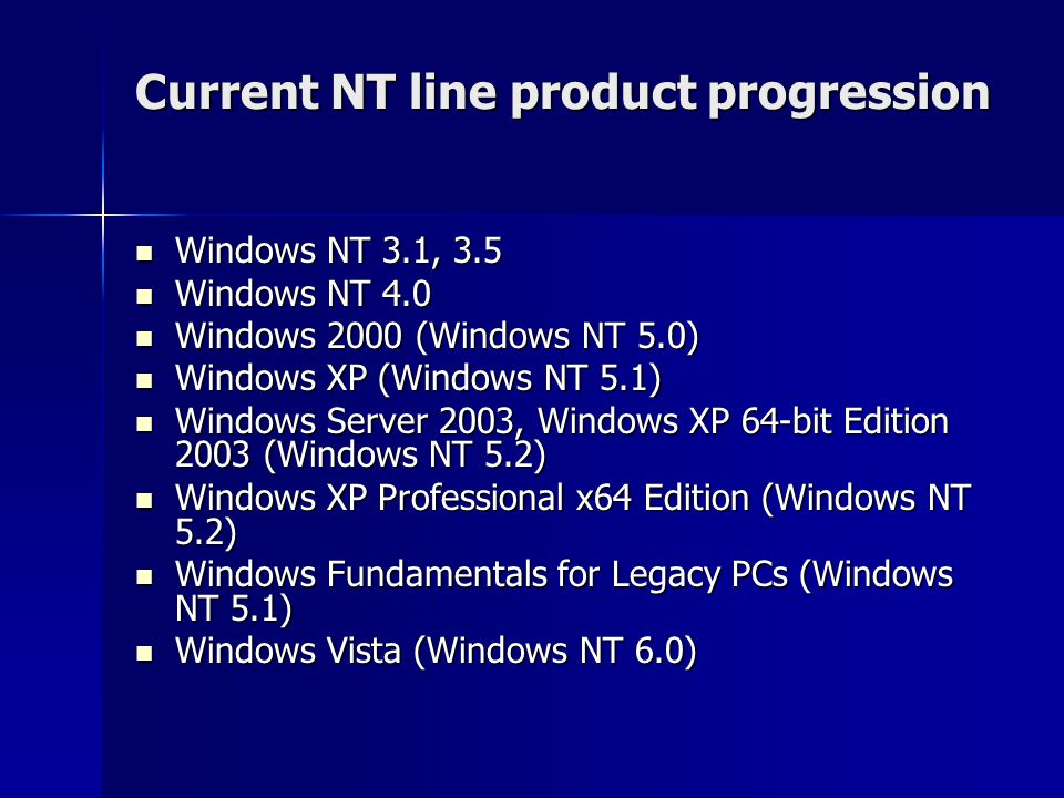 Current NT line product progression