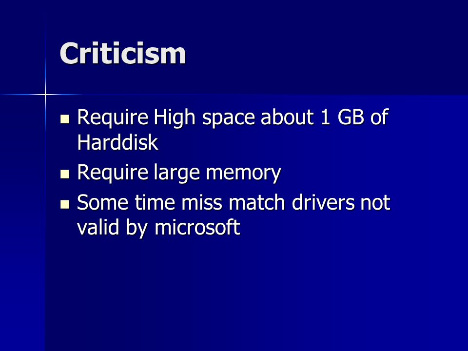 Criticism Require High space about 1 GB of Harddisk
