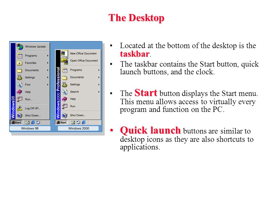 The Desktop Located at the bottom of the desktop is the taskbar. The taskbar contains the Start button, quick launch buttons, and the clock.