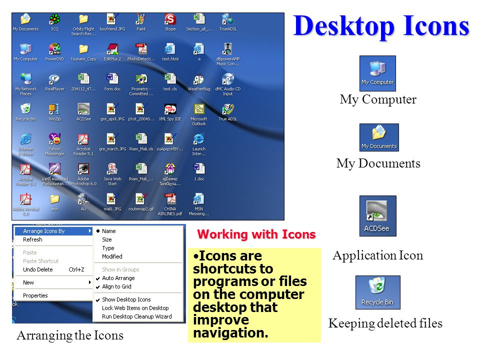 Desktop Icons My Computer My Documents Application Icon