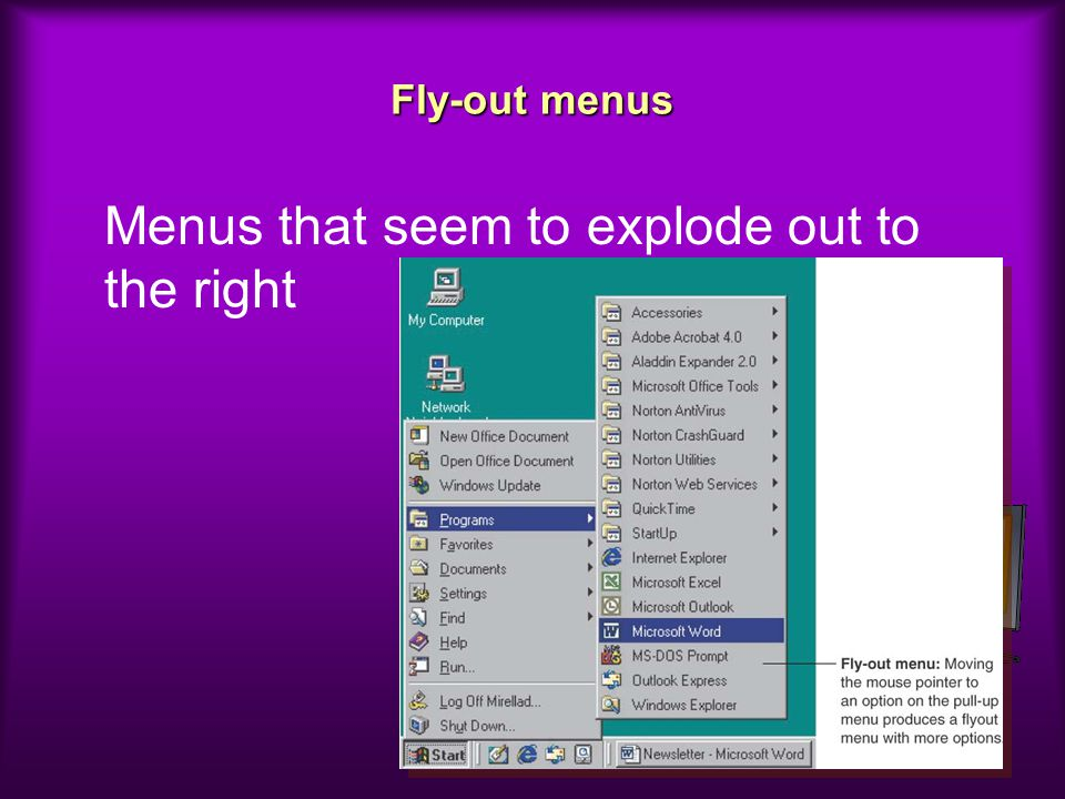 Menus that seem to explode out to the right