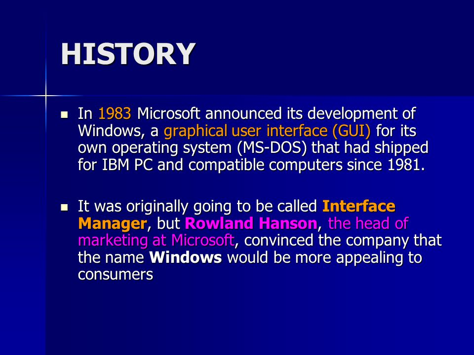 A history of microsoft windows operating system and its versions