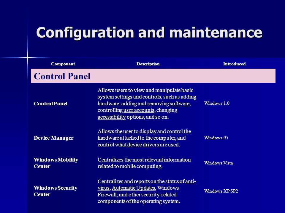 Configuration and maintenance