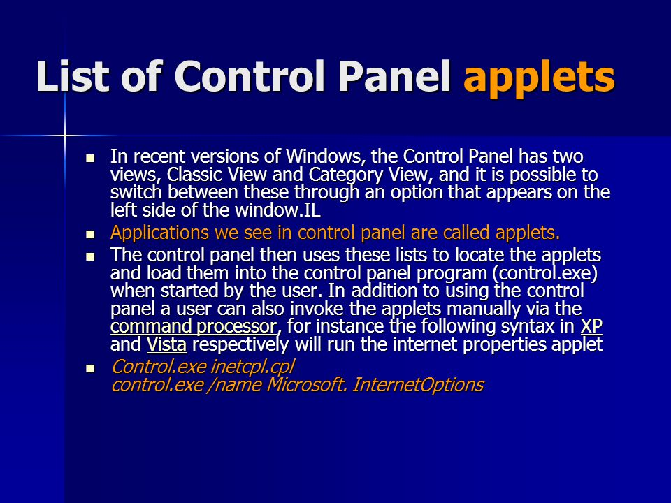 List of Control Panel applets