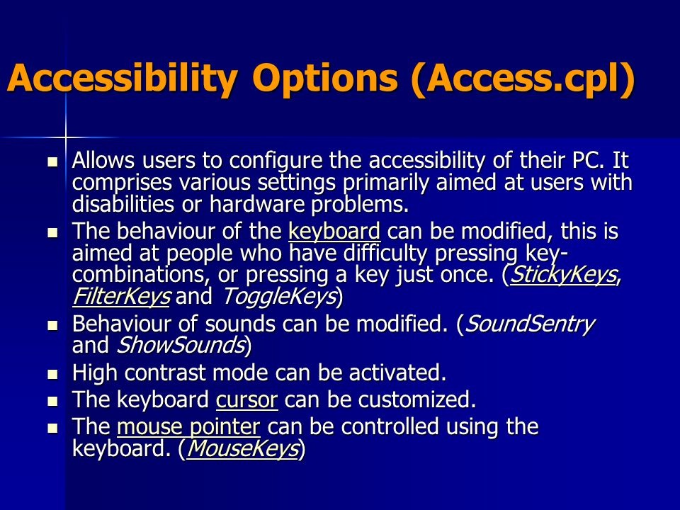 Accessibility Options (Access.cpl)