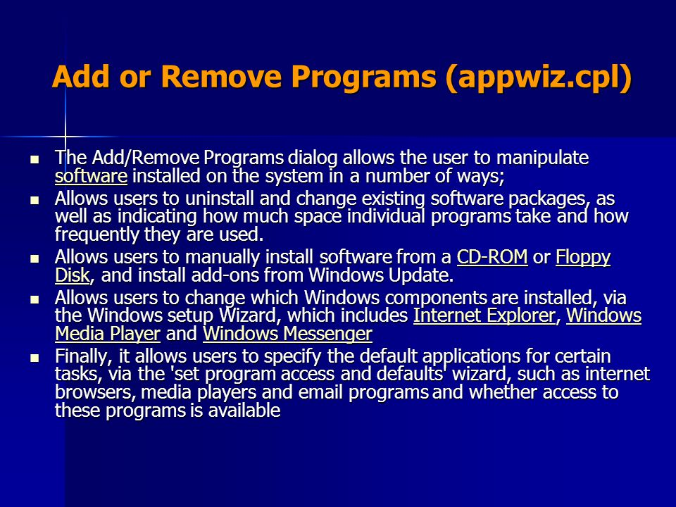 Add or Remove Programs (appwiz.cpl)