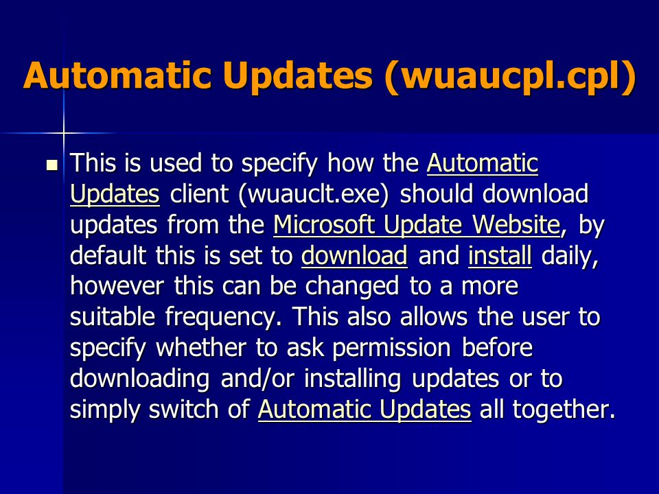 Automatic Updates (wuaucpl.cpl)